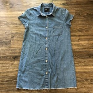 Zara Denim Cutoff Button Up Dress